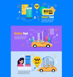 Taxi smartphone service flat web banner set vector