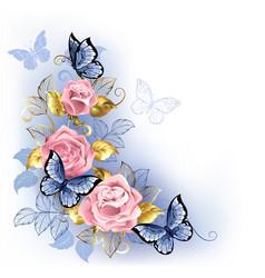 Three pink roses vector