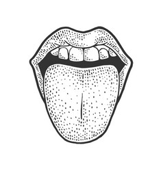 Tongue sticking out sketch vector
