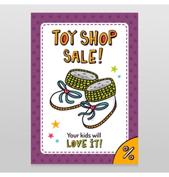 Toy shop sale flyer design with baby booties vector