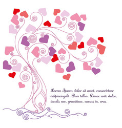 Tree with lovely hearts vector