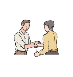 two men in shirts came to an agreement a business vector image