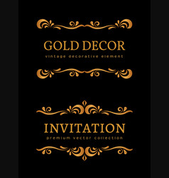 Vintage gold vignettes vector