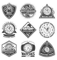 Vintage watches repair service labels set vector