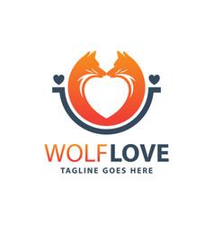 wolf animal love logo design vector image