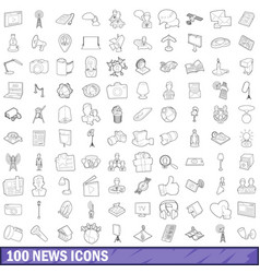 100 news icons set outline style vector image vector image