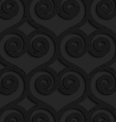 Black textured plastic swirly hearts in grid vector image vector image