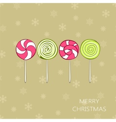 Christmas vintage card with lollipops vector image vector image