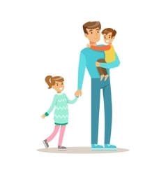 Dad With Son And Daughter Loving Father Enjoying vector image vector image