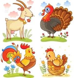Farm animal collection set vector image