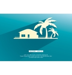 Styled bungalows and palm trees white with flat vector image