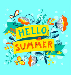 Summer floral banner enjoy summer lettering cute vector