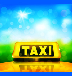 yellow taxi sign on the car on a blue sky vector image