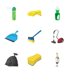 Cleansing icons set cartoon style vector