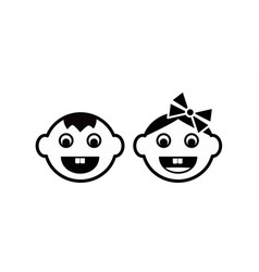 cute kids face icon vector image