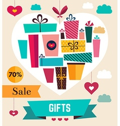 Holiday gifts in heart vector image vector image