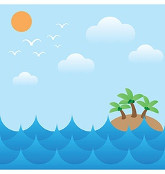 island in sea wavessunsky and cloud vector image vector image