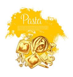 Pasta or italian macaroni sketch poster vector