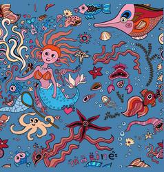 underwater mermaids seamless pattern vector image