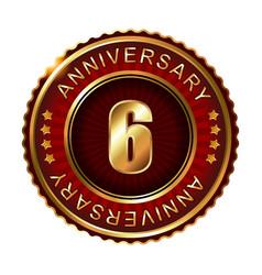6 years anniversary golden label vector image