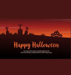 Background happy halloween scenery silhouettes vector