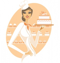 chef girl with white cake vector image vector image
