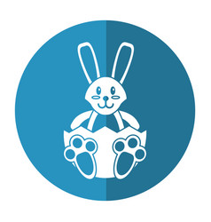 easter bunny with broken egg shadow vector image