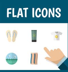 Flat icon season set of ocean moisturizer beach vector