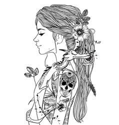 portrait of a young woman with little dragon vector image vector image