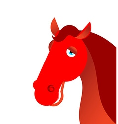 Red fiery horse on white background Animal symbol vector image