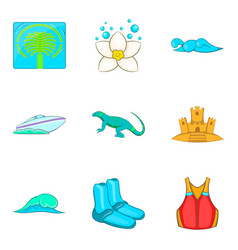 seawater icons set cartoon style vector image