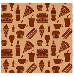 fastfood pattern brown vector image vector image