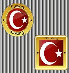 Flag turkey symbol turkish national country icon vector image