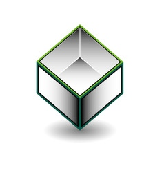 Hollow cube- an enclosed space with open top vector
