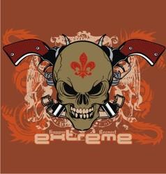 ribbon skull gun vector image