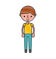scribble cute boy cartoon vector image