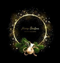 a ring golden particles and a christmas wreath vector image
