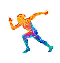 Abstract of a running woman short distance vector