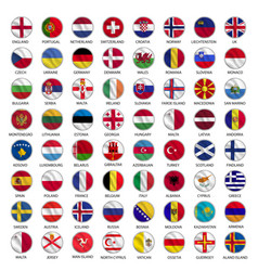all european country flags icons circle shape vector image