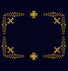 Art deco frame with snowflakes golden color vector