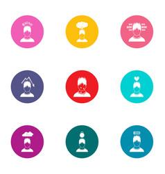 attitude icons set flat style vector image