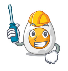Automotive freshly boiled egg isolated on mascot vector