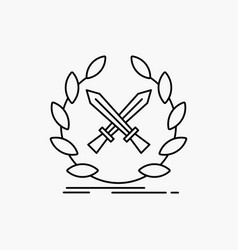 Battle emblem game label swords line icon isolated vector