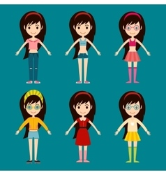 Beautiful cartoon fashion girl cloth vector image