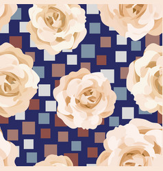 Beige roses seamless pattern square background vector