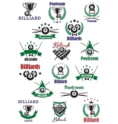 Billiards snooker and pool emblems vector image