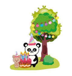 birthday animal cartoon vector image