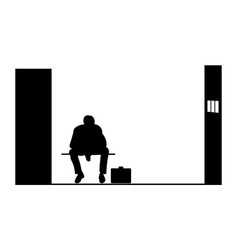 black silhouette of a man sitting in jail vector image