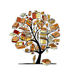 Books tree sketch for your design vector