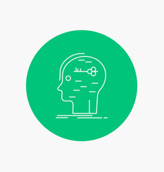 Brain hack hacking key mind white line icon in vector